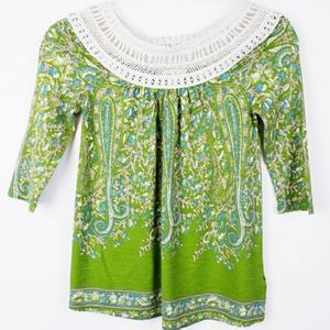 Meadow Rue - Anthropologie Floral Lace Neck Top…